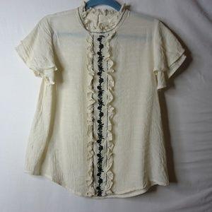 Mine Cream Flutter Sleeve Black Embroidery Top